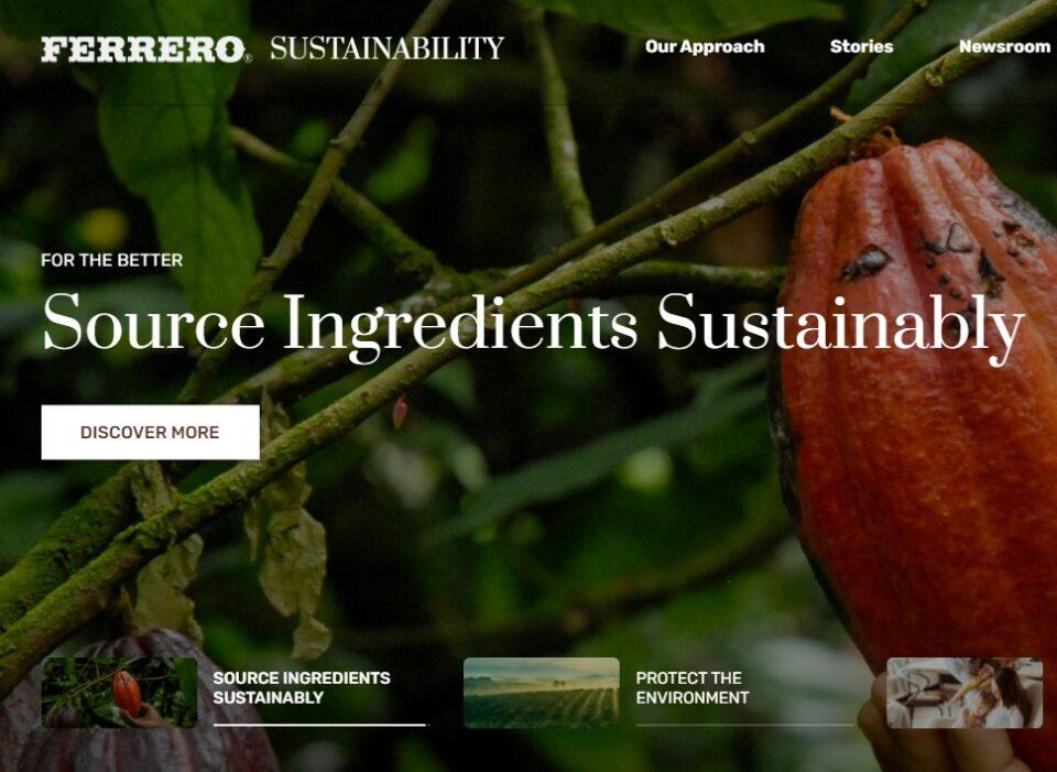 Ferrero, azúcar de caña y granos de cacao 100 % sostenibles